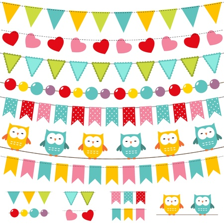 Illustration for Bunting and garland colorful set - Royalty Free Image