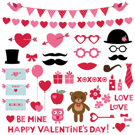 Valentine\'s Day set - photo booth props and design elements