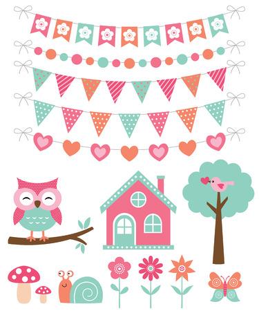 Summer decoration and design elements