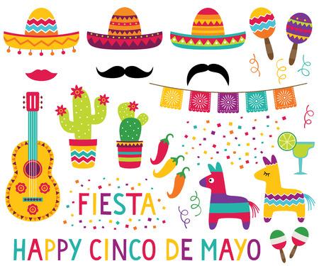 Illustration for Cinco de Mayo design elements set - Royalty Free Image