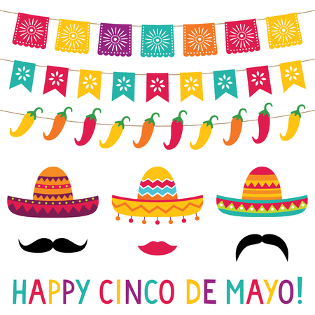Illustration for Cinco de Mayo banners and sombreros set - Royalty Free Image