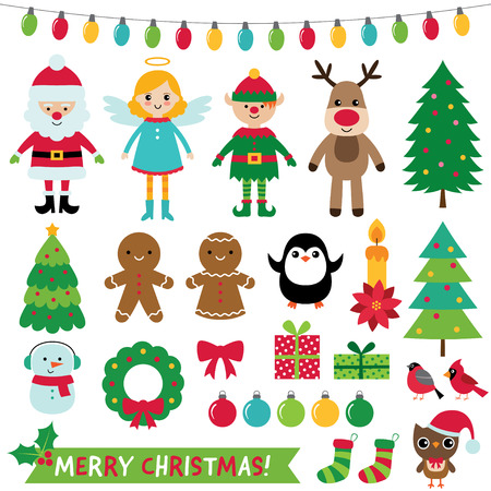 Ilustración de Christmas decoration and characters set, vector illustration. - Imagen libre de derechos