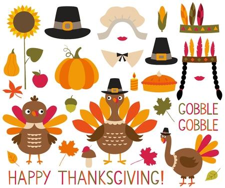 Illustration for Thanksgiving and fall decoration set (turkeys, pumpkins, pilgrim hats) - Royalty Free Image