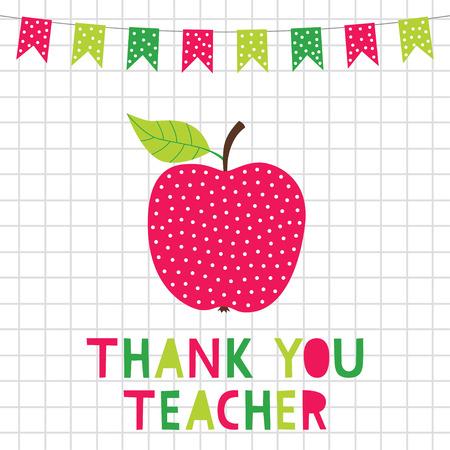 Teacher appreciation card with an apple