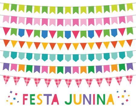 Illustration pour Festa Junina, Brazil June party, banners set - image libre de droit