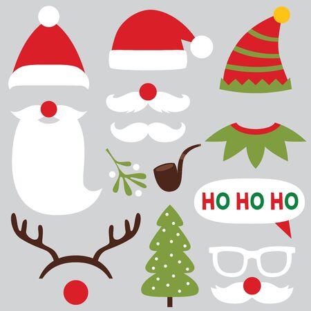 Illustration pour Christmas photo booth and scrapbooking vector set - Santa, deer, elf - image libre de droit