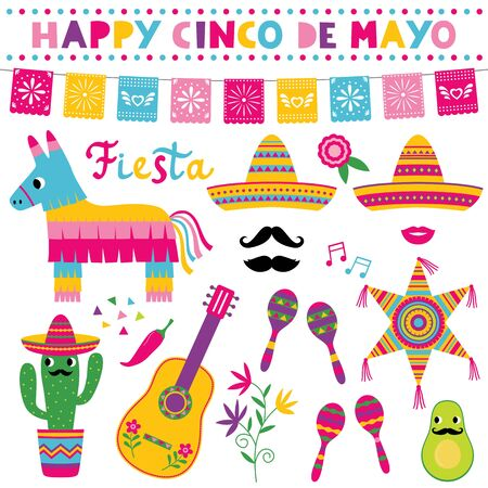 Illustration for Cinco de Mayo, national Mexican holiday, vector set, sombreros, pinatas, a guitar, colorful banners and decoration - Royalty Free Image