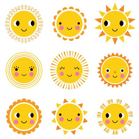 Illustration for Happy cute cartoon sun characters, vector set - Royalty Free Image