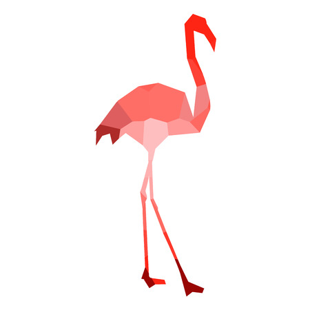 Isolated colored low poly flamingo, Vector illustration