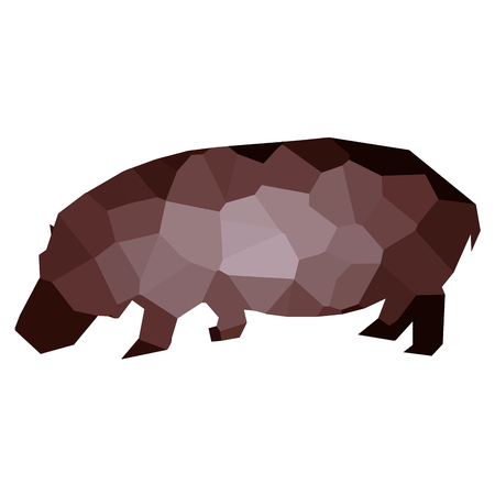 Isolated colored low poly hippo, Vector illustration