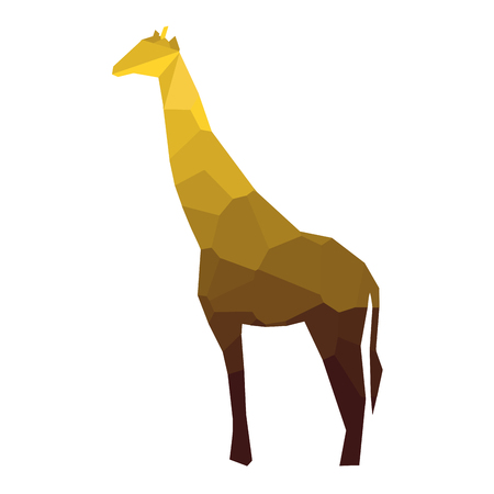 Isolated colored low poly giraffe, Vector illustration