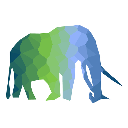 Isolated colored low poly elephant, Vector illustration