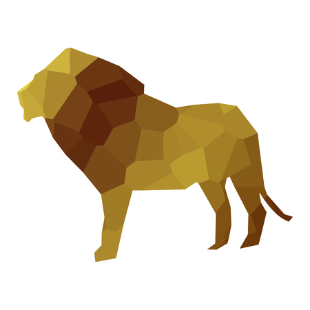 Isolated colored low poly lion, Vector illustration