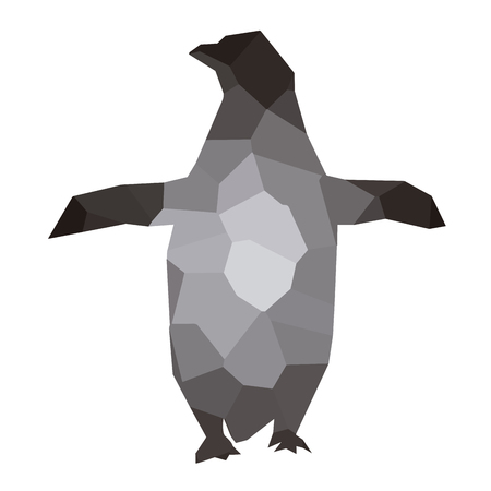 Isolated colored low poly penguin, Vector illustration