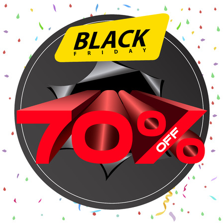 Isolated black friday discount banner, vector illustration