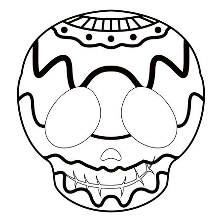 Illustration pour Outline of a happy mexican skull cartoon. Vector illustration design - image libre de droit