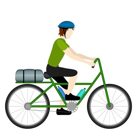 Illustration pour Isolated male bicycle tourist riding his bike - image libre de droit