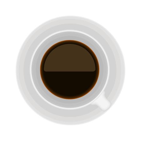 Illustration pour Top view of a coffee cup on white background - image libre de droit