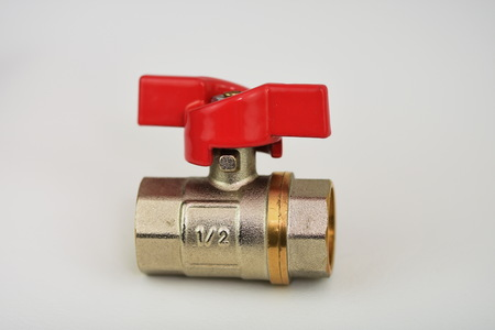 Ball valve with red handle
