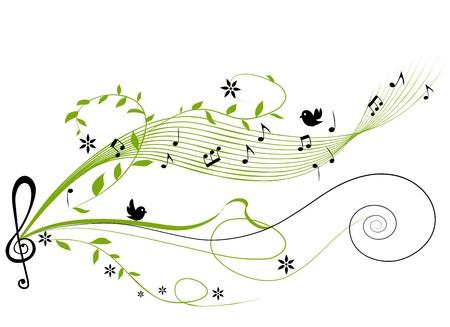Illustration pour musical green background - vector illustration - image libre de droit