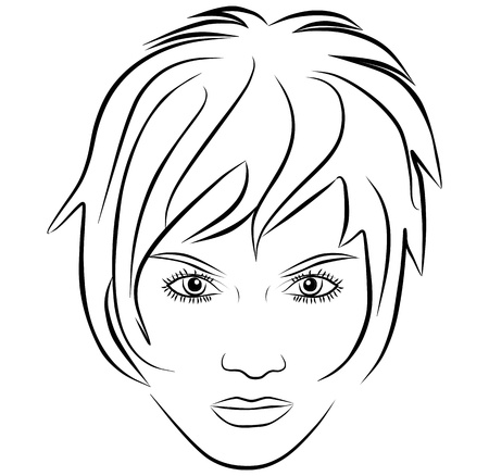 yang woman face, short hair - freehand on a white background, vector