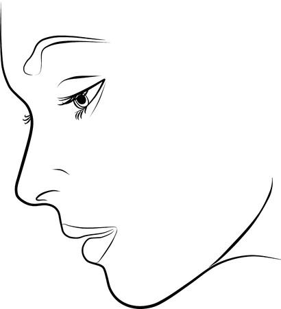 Illustration pour beautiful young woman profile - freehand on a white background, vector illustration - image libre de droit