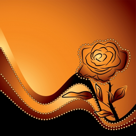roses silhouette , symbol of beauty and fragility on a orange background - love vector illustration