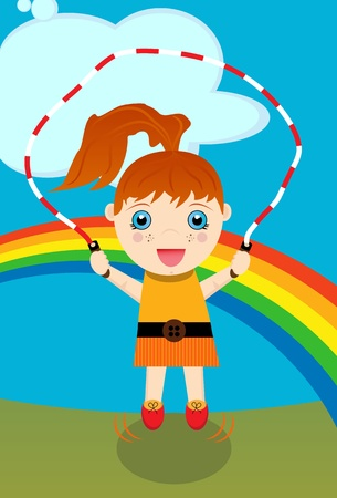 Young Girl Jumping Rope