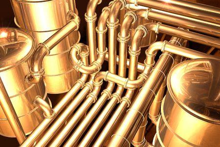 Photo pour pipelines inside oil refinery. pipes, tubes, tanks, valves. 3D rendering illustration. - image libre de droit