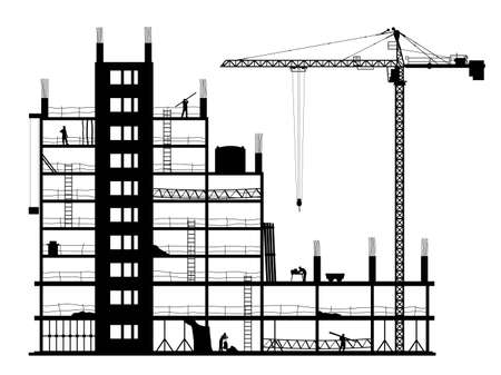 Photo for Construction of a building. A silhouette on a white background. A vector illustration. - Royalty Free Image