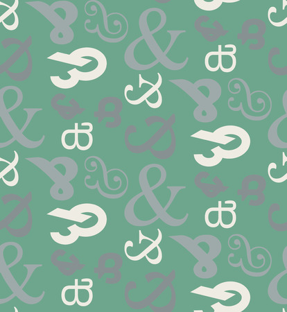 Ampersand Seamless Pattern Background Nice Teal Color With White