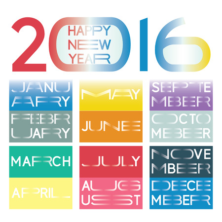 2016 calendar in a  new minimalistic lettering style with horizontally elongated typography. Names of the months and the wish for a happy new year are included.