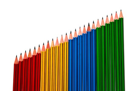 Photo pour Pencils Red Yellow Blue and Green on White Background - image libre de droit