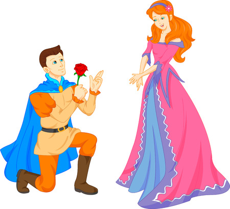 Illustration for charming prince and beautiful princess - Royalty Free Image