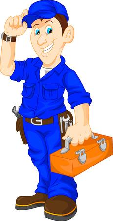 Illustration for mechanic holding utility box - Royalty Free Image