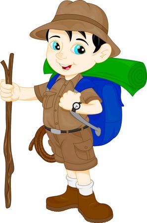 Illustration pour cartoon cute hiker boy - image libre de droit