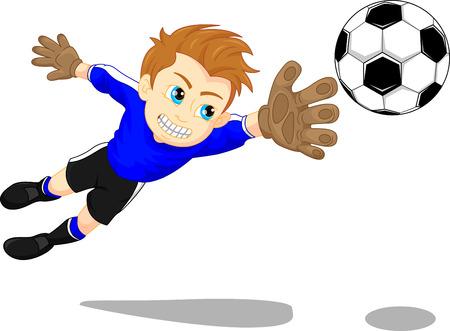 Soccer football goal keeper saving a goal