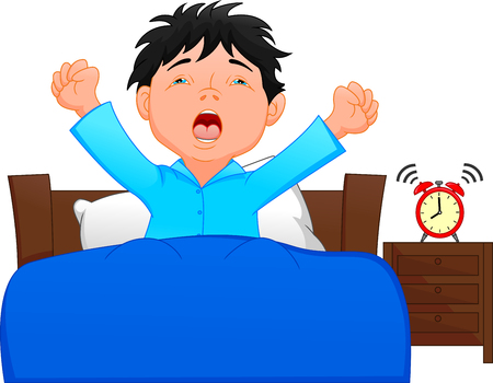 Illustration pour little boy wake up in the morning - image libre de droit