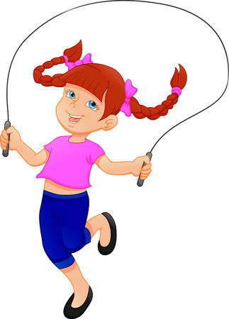 Little girl playing skipping rope