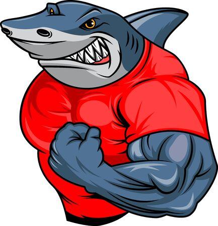 Illustration pour muscle shark cartoon - image libre de droit