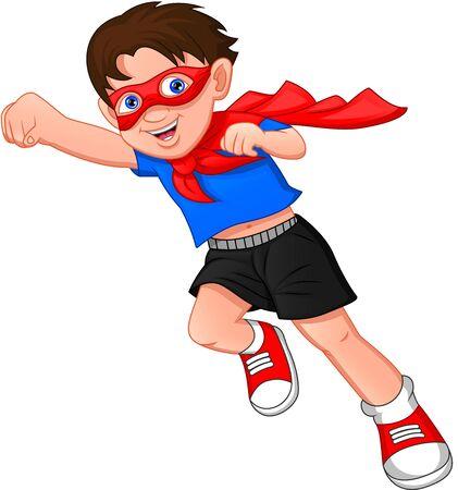 Ilustración de Super hero boy posing on a white background - Imagen libre de derechos