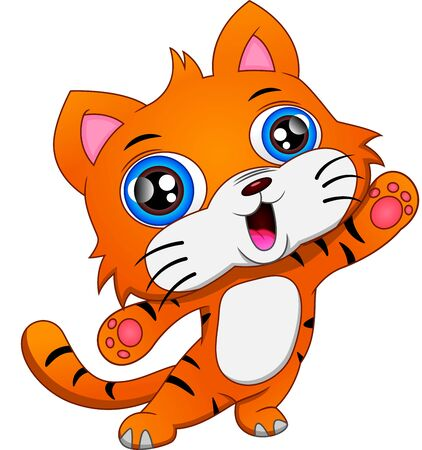 Illustration for cute baby tiger cartoon waving - Royalty Free Image