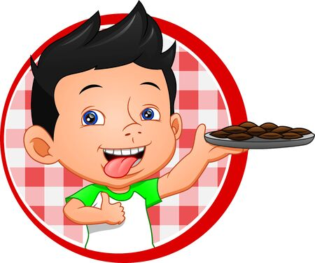 Illustration for boy and chocolate cookies - Royalty Free Image