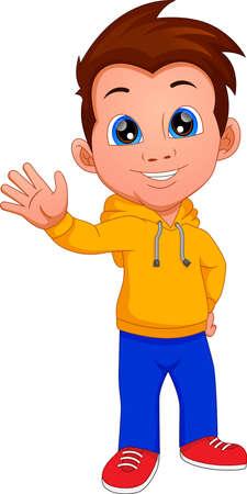 Ilustración de cute boy waving isolated on white background - Imagen libre de derechos