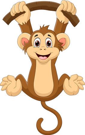 Illustration pour cartoon monkey hanging on a tree - image libre de droit