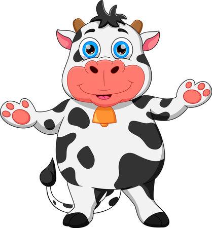 Photo pour cartoon cow waving and smiling - image libre de droit