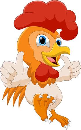 Illustration pour cartoon rooster thumbs up - image libre de droit