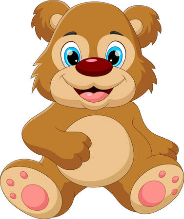 Illustration pour cartoon baby bear sitting and smiling pose - image libre de droit