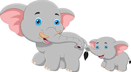 Illustration for cartoon mother elephant and baby elephant walking - Royalty Free Image