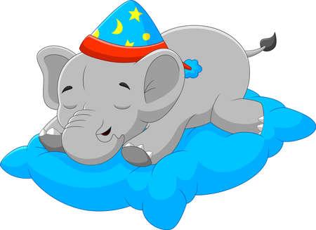 Illustration pour cartoon baby elephant sleeping on pillow - image libre de droit